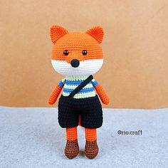 Ravelry: Kai the fox pattern by RiO Craft Easy Crochet Stitches, Crochet Patterns, Crochet Animals, Crochet Toys, Easy Amigurumi Pattern, How To Make Toys, Fox Pattern, Softies, Kai