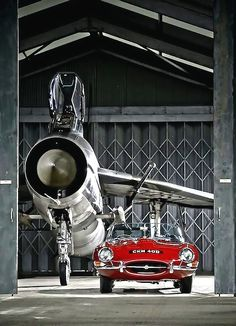 combustible-contraptions: Lightning F3 & the Jag-E 1964 BAC Lightning F3 Interceptor | British Aircraft Corporation | English Electric Lightning | Supersonic Jet Fighter of the RAF in the 1960s 1965 Jaguar E-Type | Jaguar XK-E | Series 1 | Convertible OTS | Open Two Seater | 3.8L XK Straight 6 265hp | Top Speed 240 kph 149 mph | English Sports Car manufactured in different styles and layouts between 1961 - 1975
