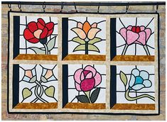 Vitrall a Sant Just Stained Glass Quilt, Stained Glass Flowers, Faux Stained Glass, Stained Glass Patterns, Leaded Glass, Applique Patterns, Applique Quilts, Quilt Patterns, Celtic Quilt