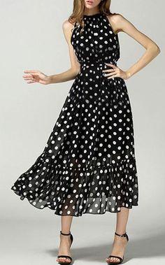Polka Dot Chiffon Dress - Trending Fashion ==