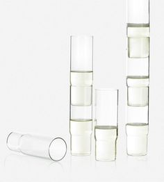 Column party glass are designed to be stacked when full to allow a new way to serve drinks at parties. Rather than carrying a tray of drinks through a crowd, stacks of full glasses can be served in this secure, spectacular and entertaining way.  #SebastianBergne #glass #party #stack