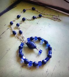 Navy blue necklace Handmade paper bead necklace by JoannaJeanne