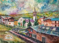 """I offered to paint a picture for my Aunt Fran and she decided on a picture of her hometown in Northern Italy, Sant'Anna Pelago.   It will be delivered to her home just after Christmas.  For those interested in a giclee of the painting ( archival inkjet print), I will be offering a limited edition giclee of Sant'Anna Pelago, size 22""""x 28"""" for $100 plus SH.  Please contact me if you are interested in purchasing a print.  roccopistoart@gmail.com or phone 614-408-8500"""