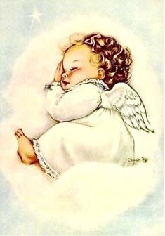 "How sweet is this darling little angel? Browse our selection of ""Angel Baby"" cards and gifts in the Shower of Roses Shoppe on Zazzle! Vintage Christmas Cards, Vintage Cards, Baby Engel, Prays The Lord, Good Night Everyone, I Believe In Angels, Angel Pictures, Angel Images, Theme Noel"
