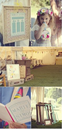 Collect a few old frames, paint them in interesting colors, and leave around for guests to use in pictures...