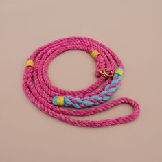Hot pink cruiser rope leash by Lasso.