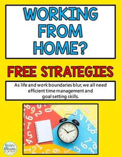 When you work from home, you need time management and goal setting strategies even more! Get these free tips to help you balance life and work! School Resources, Teaching Resources, Time Management Strategies, Work Goals, 2nd Grade Teacher, Free Tips, Home Schooling, Home Free, Freshman