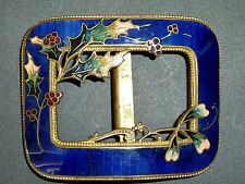 Stunning ANTIQUE GUILLOCHE ENAMELS ART NOUVEAU BUCKLE CHAMPLEVE Holly French?