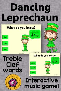 Reading notes names and decoding the words on the Treble Clef staff is fun for your music students with this interactive music game! Great activity to add to your lesson plan especially in March around St. Patrick's Day!