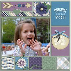 be you - Scrapbook.com  I like the framing with blocks of coloured/patterned paper and cute embellishments