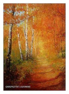 Jesien / Autumn - Malarstwo,  70x50 cm ©2004 przez Krzysztof Lozowski -   …