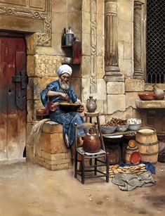 Egyptian Art - Arabic Art - Oriental Art - Handmade Oil Painting On Canvas. Arabian Art, Old Egypt, Islamic Paintings, Art Africain, Ludwig, Egyptian Art, Pics Art, Art Plastique, Oil Painting On Canvas