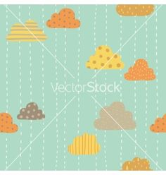 Funny clouds pattern vector - by kondratya on VectorStock®