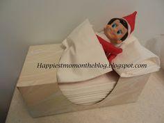 Elf on the Shelf Idea:  Took a nap in the Kleenex box
