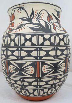 "HUGE Native American Indian KEWA SANTO DOMINGO Polychrome Pottery Olla 15.5"""
