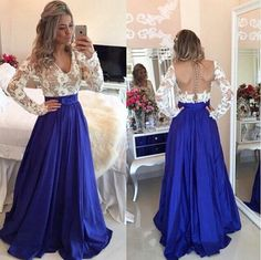 Free Shipping Long Sleeves Lace Prom Dress,Deep V-neck Graduation Dress,Sexy Open Back Evening Party Dress,Blue Occasion Dress