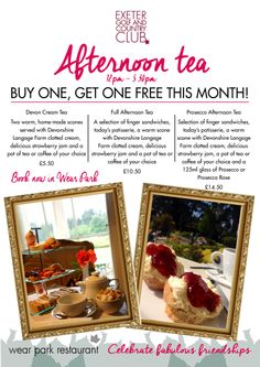 Indulge in Afternoon Tea with the ladies..deliciously naughty!  01392 874139 / sales@exetergcc.co.uk  http://exetergcc.co.uk/join/treatments
