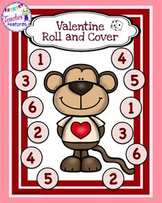 ❤FREEBIE ❤ FREE DOWNLOAD❤ This is a free Valentine's Day Roll and Cover Math Game!