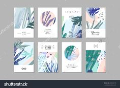 Set of creative universal floral cards in tropical style. - Buy this stock vector and explore similar vectors at Adobe Stock Tropical Style, Square Card, Motif Floral, Design Graphique, Flyer, Floral Illustrations, Creative Cards, Magazine Design, Graphic Design Inspiration