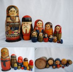 Antique Russian Nesting Dolls Matryoshka Folk Art Wood Wooden Figures Toy Box | eBay