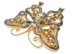 Large Vintage Rhinestone Butterfly Brooch Topaz AB Guilloche Enamel Figural Pin | eBay