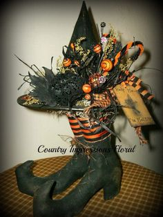 Help Me I'm Melting Witch Boot centerpiece by CountryImpressions, $28.00