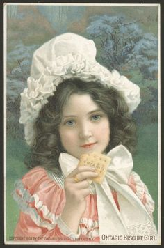 Ontario Biscuit girl 	Physical Description: 	1 advertising card : col. ill. ; 15 x 9 cm. 	Language: 	English 	Creator: 	Ontario Biscuit Co. (Firm : Buffalo, NY) 	Publisher: 	Ontario Biscuit Co. 	Publication Date: 	c1903