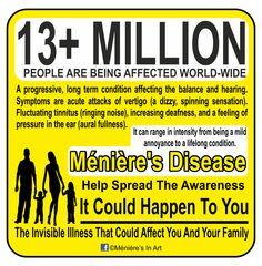 Meniere`s disease awareness. Chronic Migraines, Chronic Illness, Chronic Pain, Meneires Disease, Graves Disease, Tension Headache, Headache Relief, Hearing Impairment, Invisible Illness
