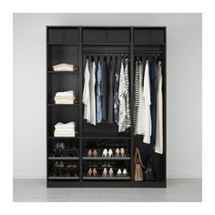 IKEA - PAX, Wardrobe, 175x58x236 cm, , 10-year Limited Warranty. Read about the terms in the Limited Warranty brochure.You can easily adapt this ready-made PAX/KOMPLEMENT combination to suit your needs and taste using the PAX planning tool.If you want to organize inside you can complement with interior organizers from the KOMPLEMENT series.Adjustable feet make it possible to compensate for any irregularities in the floor.