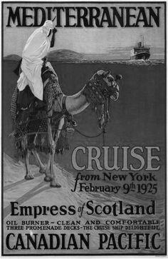 Canadian Pacific Mediterranean Cruise Lines 1925 Poster Standup 4inx6in black and white