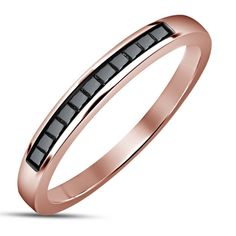 14k Rose Gold Plated 925 Sterling Silver Princess Cut CZ Engagement Band Ring #2stylenfashion #Band