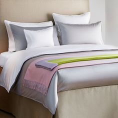 """Classic"" Silver Egyptian Cotton 500 Thread Count Bed Linen with Grosgrain Trim"