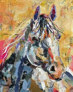 Nancy Standlee Fine Art: Etsy, NancyStandleeArt, Torn Paper Collage Paper Painting, Good Coffee Day 30 Paintings in 30 Days September 2013 Leslie Saeta Challenge by Texas Collage Artist Nancy Standlee Paper Collage Art, Collage Art Mixed Media, Paper Art, Magazine Collage, Painted Paper, Hand Painted, Equine Art, Horse Art, Photomontage