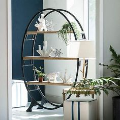 Our Oval Wood and Metal Bookshelf is the definition of modern farmhouse flair. Its unique oval design makes this a striking accent piece for any room! Italian Bedroom Furniture, Metal Furniture, Rustic Furniture, Cool Furniture, Furniture Design, Furniture Handles, Furniture Dolly, Round Bookshelf, Bookshelves