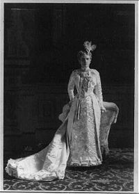 #26 Ida Saxton McKinley(June 8, 1847-May 26,1907)wife of William McKinley,was First Lady of the U S from 1897-1901.Mrs. McKinley broke down under the loss of her mother and two infant daughters(only Children)within a short span of time.She developed epilepsy and became totally dependent on her husband.The President's patient devotion and loving attention was the talk of the capital. The assassination of her husband by Leon Czolgosz in Sept 1901,Mrs.McKinley lost much of her will to live.