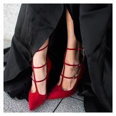 Women's Style Fashion t Strap Heels Red Suede T-strap Pointed Toe Stiletto Heel Pumps Fall Fashion Outfits For Women Women's Fall Fashion Wedding Dresses Shoes Back To School Prom Shoes for Formal event, School, Date, Big day | FSJ