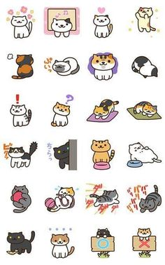 Nekoatsume Animated Stickers Sticker for LINE, WhatsApp, Telegram — Android, iPhone iOS Kawaii Drawings, Doodle Drawings, Animal Drawings, Kawaii Doodles, Kawaii Art, Kawaii Stickers, Cute Stickers, Cute Wallpaper Backgrounds, Cute Wallpapers
