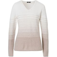 Olsen Striped Jumper found on Polyvore featuring tops, sweaters, sale, winter white, v neck sweater, v neck jumper, striped sweater, stripe top and striped top