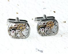 OMEGA Steampunk Cufflinks - Made with Genuine Omega Silver Vintage Watch Movement. Available at TimeInFantasy $195 USD