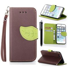 """iPhone 6 Plus Case KINGCOOL(TM) Cute Tree Leaf Design Magnetic Flip Stand Leather Wallet Case Cover with Free Stylus(Brown) Specially designed for Apple iPhone 6 5.5"""" Plus 2014 release Made of high quality PU leather material+magnetic flip design Includes slots to store your credit cards / business cards Provides protection and prevents scratches and dirt from accumulating Full access to all functions"""