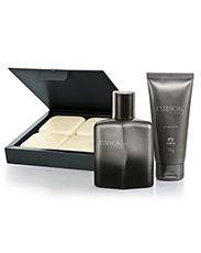 Presente Natura Essencial Estilo Masculino - Deo Parfum + Gel pós Barba + Sabonete em Barra