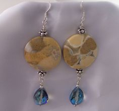Earrings Sterling Silver Picture Jasper by colorsofthesouthwest, $19.95
