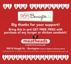 How do we love thee?  Let us count the free fries (at Meatheads Barrington)