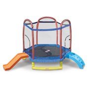 Little Tikes 7' Climb 'n Slide Trampoline with Enclosure, Padded Frame