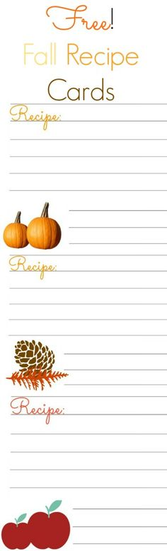 Free Fall Recipe Cards!