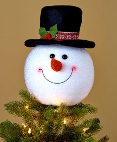 Shop Snowman Christmas Tree Topper Decoration Holiday Tree Ornament Festive Decor - up to off, discover more Christmas Tree Toppers enjoy big discount and fast shipping. Snowman Christmas Tree Topper, Merry Christmas, Christmas Crafts, White Christmas, Country Christmas, Snowman Decorations, Snowman Crafts, Christmas Tree Decorations, Snowman Hat