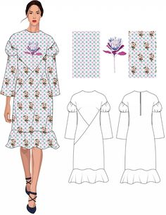 Fashion Illustration Tutorial, Fashion Illustration Dresses, Fashion Design Portfolio, Fashion Design Sketches, Fashion Flats, Fashion Dresses, Fashion Figure Templates, Clothing Sketches, Kinds Of Fabric