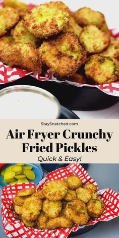 Easy, Air Fryer Crunchy Fried Pickles is the best, quick recipe that uses panko breadcrumbs to produce perfect crispy chips. Fried pickles in the air fryer can't get much easier! Dip these in ranch or your favorite dipping sauce! Air Fryer Oven Recipes, Air Frier Recipes, Air Fryer Dinner Recipes, Appetizer Recipes, Healthy Dinner Recipes, Healthy Dinners, Air Fryer Chicken Recipes, Air Fryer Recipes Pickles, Air Fryer Recipes Videos