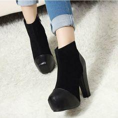 Price:$35.99 Color: Black / Brown Upper Material: PU Lining Material: Man-made Short Plush Platform Tonal Stitching Block High Heels Sleek Zipper Superior Ankle Boots
