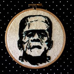 Frankenstein Embroidery Wall Art by kattuna on Etsy